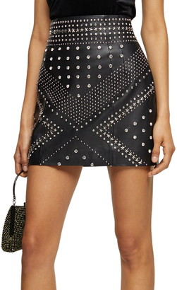 Topshop Studded Leather Miniskirt