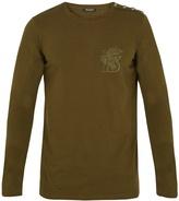 Balmain Lion-embroidered long-sleeved cotton T-shirt