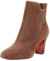 Christian Louboutin Tiagadaboot Suede 70mm Red Sole Bootie, Chatain Brown