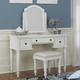 Home styles Bermuda 3-pc. White Vanity Table, Mirror & Bench Set