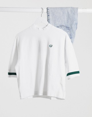 Fred Perry oversized pique t-shirt in white