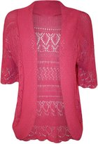 GirlzWalk ® Women Knit Crochet Short Sleeve Cardigan Plus