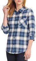 Pendleton Cotton Flannel Long Sleeve Half Zip Navy Plaid Tunic