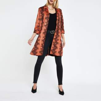 River Island Womens Rust faux suede snake print duster