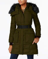 French Connection Faux-Fur-Trim Belted Coat, Created for Macy's