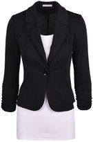 Dantiya Women's Solid Colors Plus Size One button Casual Blazer M