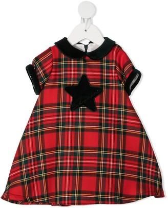 La Stupenderia Appliqued Checked Dress