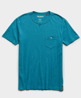 Todd Snyder Made in L.A. Slub Jersey Pocket T-Shirt in Cyan