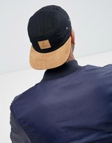 Asos 5 Panel Cap In Black Canvas With Tan Faux Suede Peak