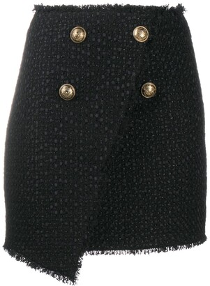 Balmain Double-Button Mini Skirt