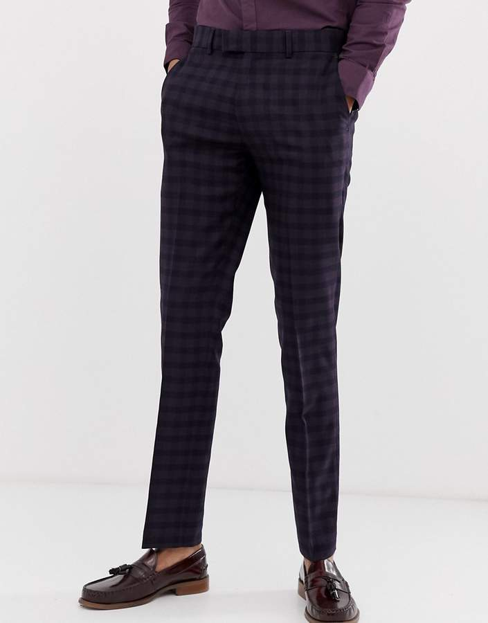Farah Smart Hurstleigh Skinny Fit Check Suit Pants In Burgundy