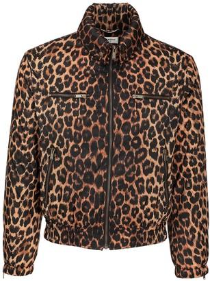 Saint Laurent Leopard Print Tech Zip Jacket