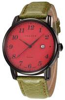 Julius JA-508MD Men's Easy Reader Arabic Numbers Quartz Analog Calendar Watch with Green Leather Band