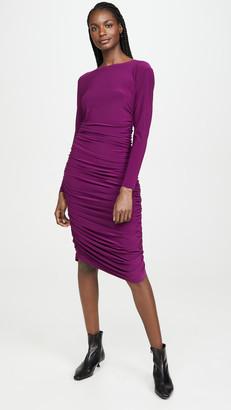 Norma Kamali Long Sleeve Shirred Dress