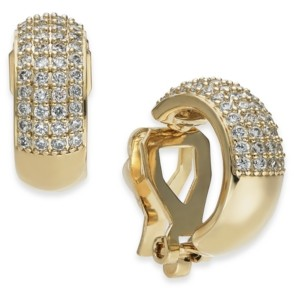 Eliot Danori Cubic Zirconia Pave Clip-On Huggie Hoop Earrings, Created for Macy's