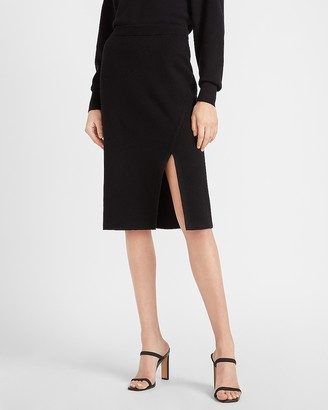 Express High Waisted Ribbed Slit Front Sweater Pencil Skirt