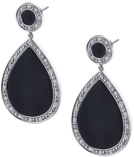 Sylvie 14k White Gold Black Onyx and Diamond Earrings