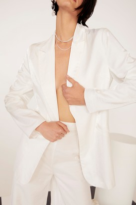 Nasty Gal Womens We're Finished Satin Relaxed Blazer - White - 4