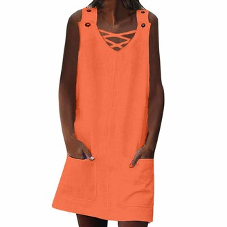 Toamen Women's Dress Toamen Womens Dresses Sale 2019 New Ladies Summer Casual Beach Dress Buttons Strap Tank Shift Mini Dress with Pocket(Orange 18)