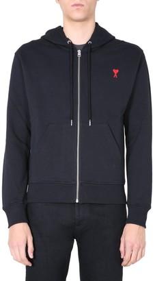 Ami Logo Embroidered Hooded Sweatshirt