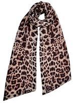 Lily & Lionel Faye Leopard Print Velvet Skinny Scarf in Neutral