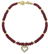 Dower & Hall Cherish 9ct Gold Pave Diamond Open Heart Ruby Bead Bracelet