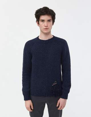 Maison Margiela Destroyed Donegal Crewneck Sweater in Navy