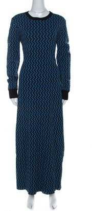Marni Multicolor Jacquard Knit Long Sleeve Maxi Dress M
