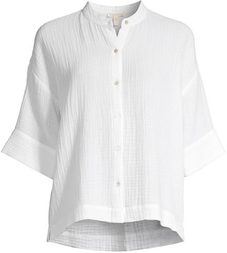Eileen Fisher Organic Cotton Mandarin-Collar Boxy Shirt