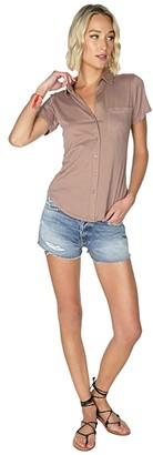 bobi Los Angeles Short Sleeve Button-Down Shirt in Lightweight Jersey (Java) Women's Clothing