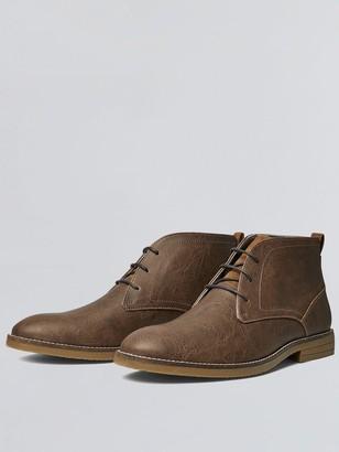 Burton Menswear London Leather-Look Chukka Boots - Tan