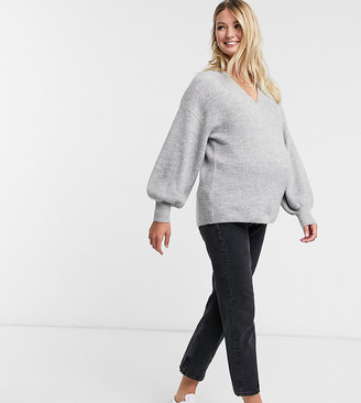 ASOS DESIGN Maternity v neck fluffy jumper