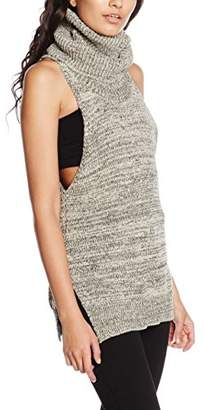 MinkPink Women's Cry Wolf High Neck Tunic Plain Sleeveless Cardigan,(Manufacturer Size:Medium)