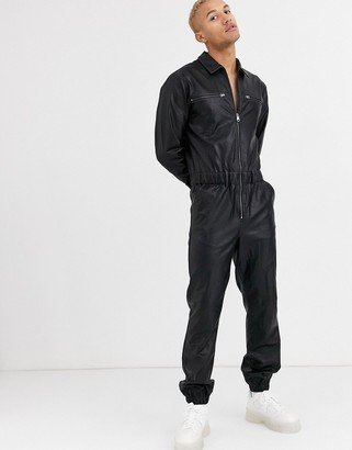 ASOS DESIGN boilersuit in black faux leather with zip detail