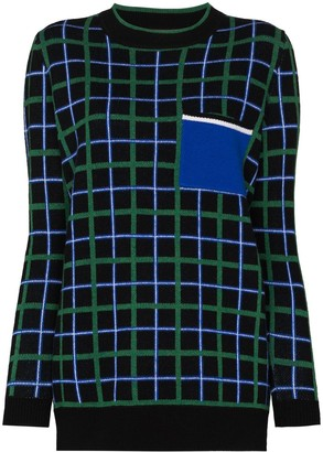 Plan C Check-Pattern Intarsia-Knit Jumper