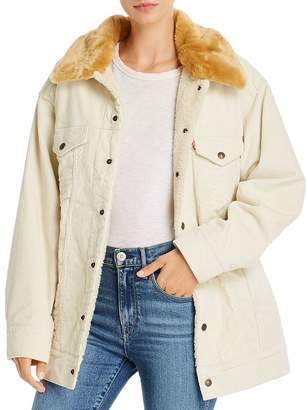 Levi's Oversize Corduroy Trucker Jacket with Faux Fur Collar