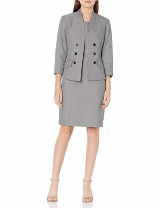 Le Suit LeSuit Women's Stand Collar Faux Double Breasted Stripe Sheath Dress Suit
