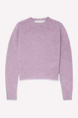 Victoria Beckham Cropped Melange Wool Sweater - Lavender