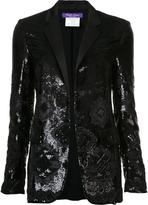 Ralph Lauren geometric sequined pattern blazer - women - Silk - 6