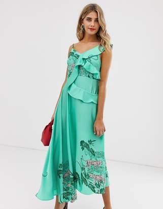 Liquorish cami midaxi dress with ruffle detail in green tiger print