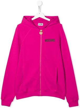 MOSCHINO BAMBINO TEEN logo zipped hoodie