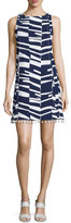 Trina Turk Sleeveless Modern-Print Shift Dress w/Beaded Tassels