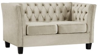 """Winston Porter Tufted 57"""" Flared Arms Loveseat Fabric: White"""
