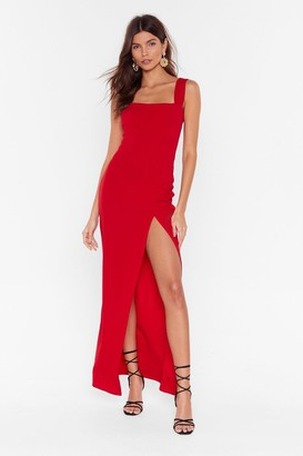 Nasty Gal Womens Red Maxi Dress with Square Neck