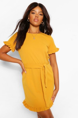 boohoo Crepe Ruffle Sleeve Belted Shift Dress