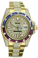 Rolex GMT Master II 116718 18K Yellow Gold Pepsi Diamonds/Rubies/Sapphires Bezel Watch