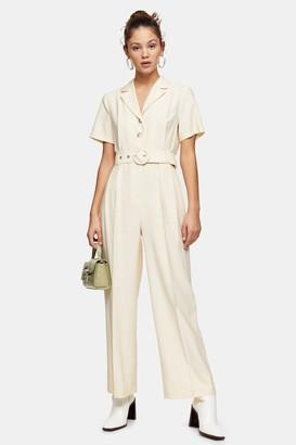 Topshop Cream Belted Short Sleeve Jumpsuit