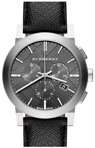 Burberry Check Stamped Round Chronograph Watch, 42mm