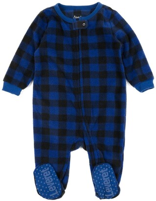 Leveret Navy Blue Plaid Footed Fleece Sleeper
