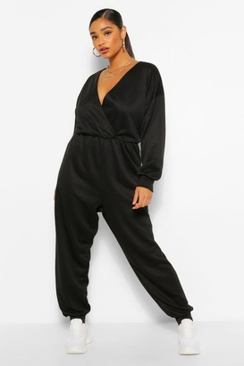 boohoo Plus Wrap Over Loopback Sweat Jumpsuit